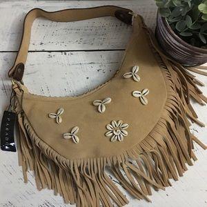 Paradox Fringe & Frayed Boho Leather Shoulder Bag